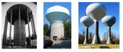 Elevated water tanks of every size and style including hydrosphere, legged, and composite